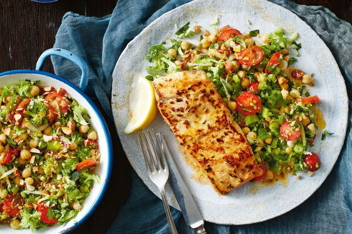 Heart Healthy Fish Recipes  Gluten free paprika fish with broccoli tabouleh