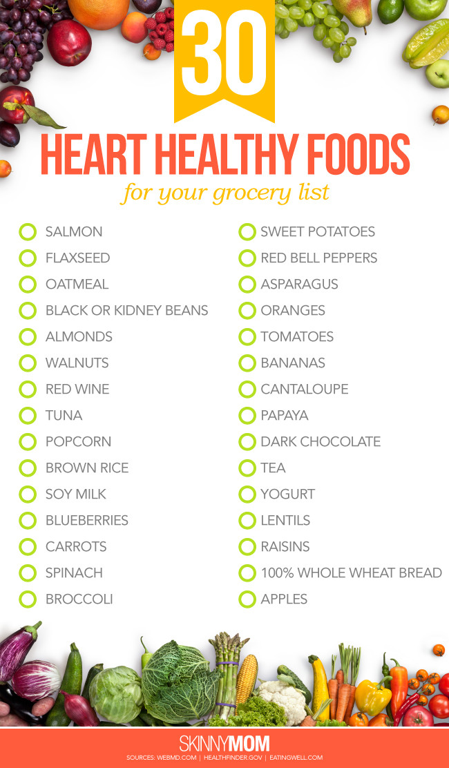 Heart Healthy Food Recipes  30 Heart Healthy Foods for Your Grocery List