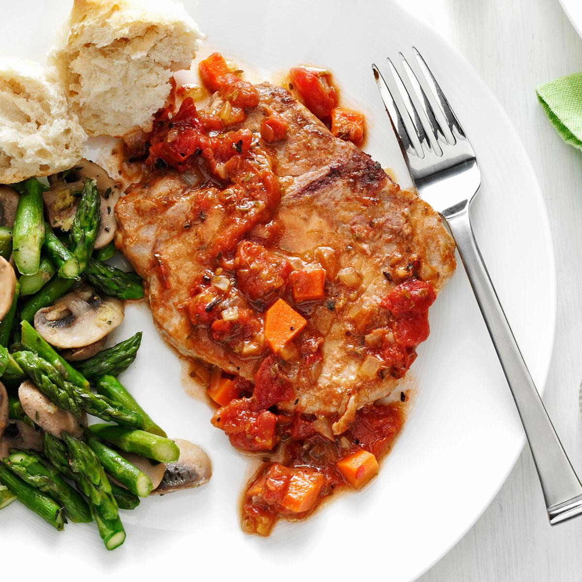 Heart Healthy Pork Chops  Tomato Topped Italian Pork Chops