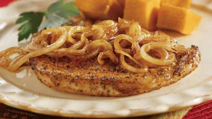 Heart Healthy Pork Recipes  Pork Chops with Sweet Browned ions