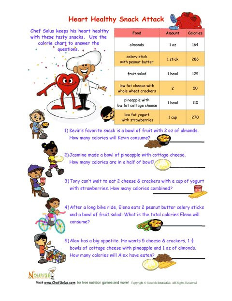 Heart Healthy Snacks  Heart Healthy Snack Attack Math Worksheet For Kids