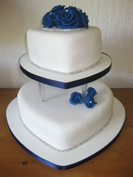 Heart Shaped Wedding Cakes  Blue rose two tiered heart shaped wedding cake