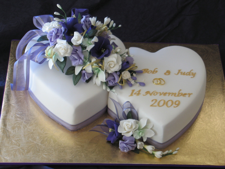 Hearts Wedding Cakes  Judy And Bob s Two Hearts Wedding Cake CakeCentral