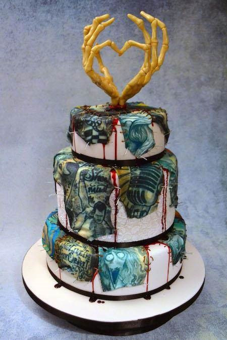 Horror Wedding Cakes  Horror Inspired Tattooed Wedding Cake