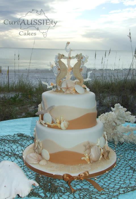 Horse Wedding Cakes  Sea Horse beach theme wedding cake Cake by curiAUSSIEty