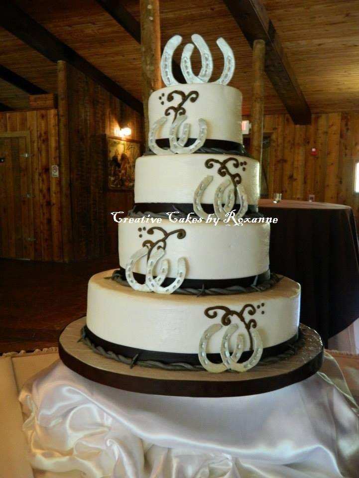Horse Wedding Cakes  Horseshoe Barbwire Wedding Cake Creative Cakes by Roxanne