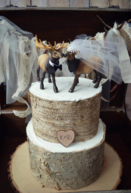 Hunting Wedding Cakes  Elk Elk hunter wedding cake topper hunting
