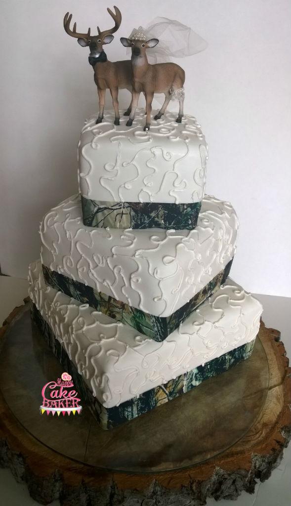 Hunting Wedding Cakes  Deer and Camo Wedding Cake – Happy Cake Baker