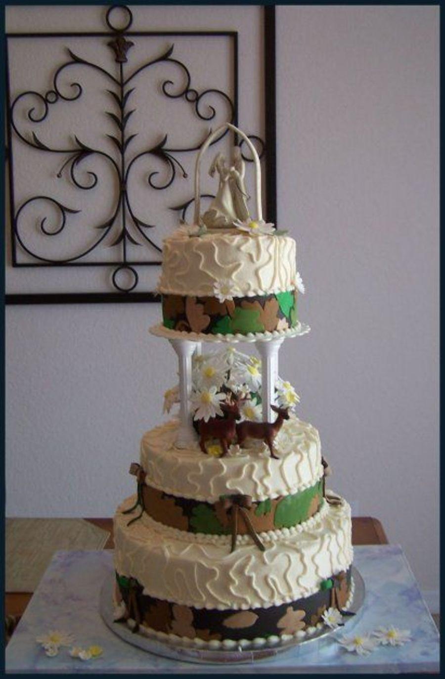 Hunting Wedding Cakes  Camouflage Wedding Cake CakeCentral