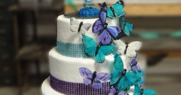 Hy Vee Wedding Cakes  Purple and Teal Wedding cake Hy Vee cake Butterflies