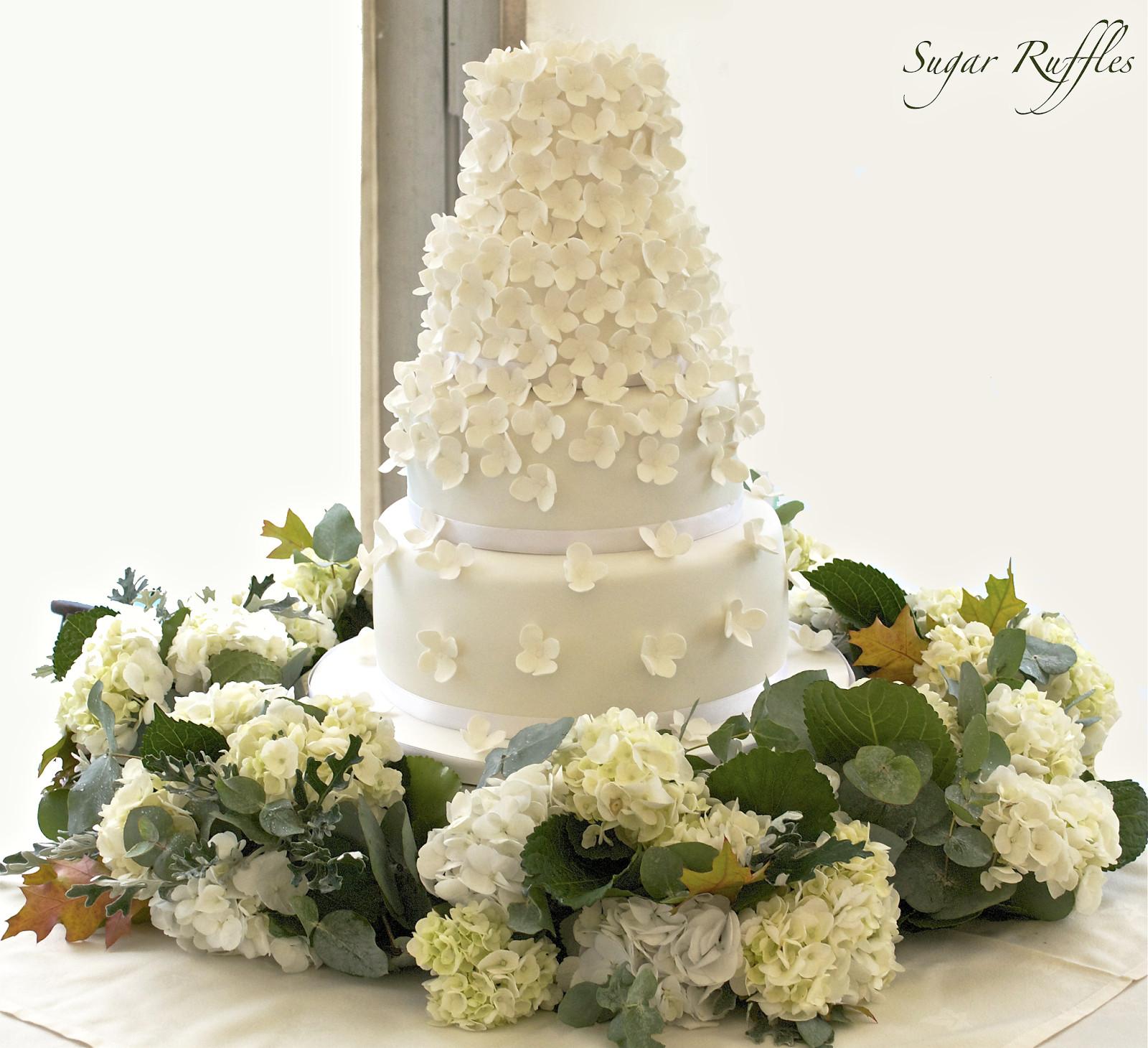 Hydrangeas Wedding Cakes  Hydrangea Cascade Wedding Cake
