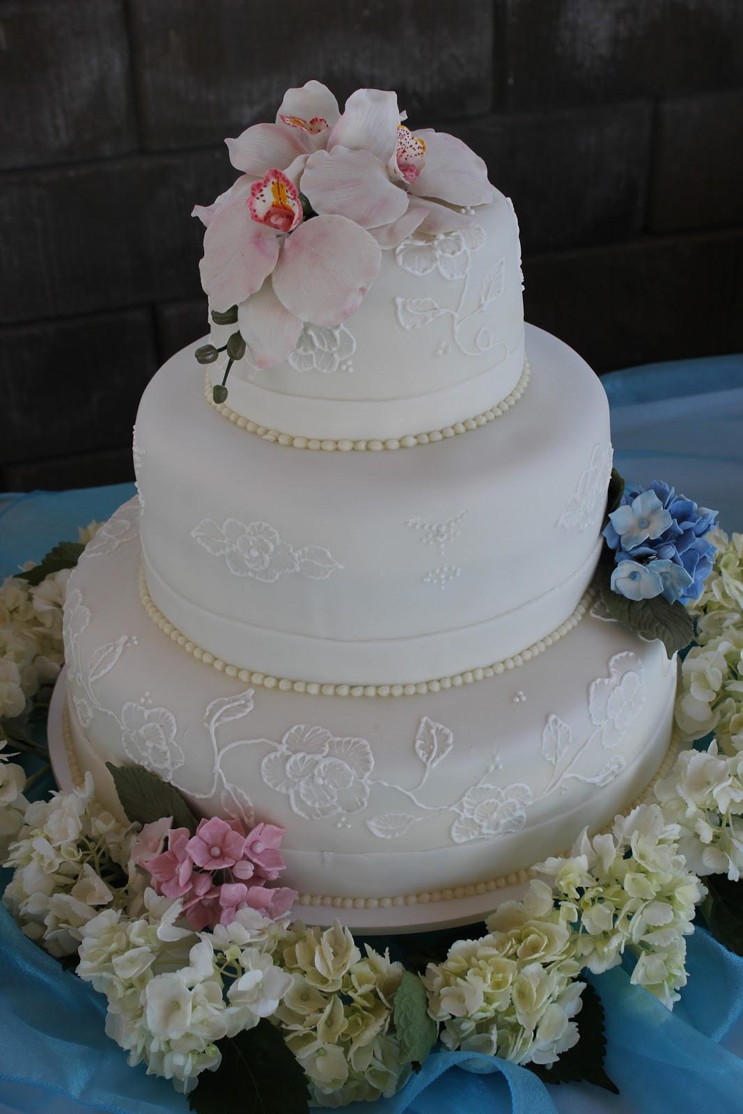 Hydrangeas Wedding Cakes  S A Cakes Hydrangea & Orchid Wedding Cake