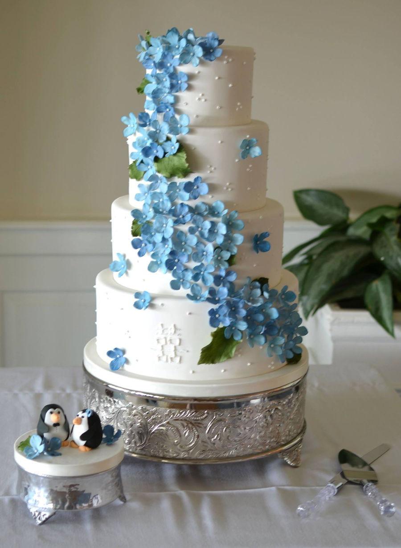Hydrangeas Wedding Cakes  Blue Hydrangea Wedding Cake CakeCentral