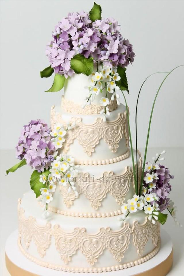 Hydrangeas Wedding Cakes  Wedding Cakes Lace And Hydrangea Wedding Cake