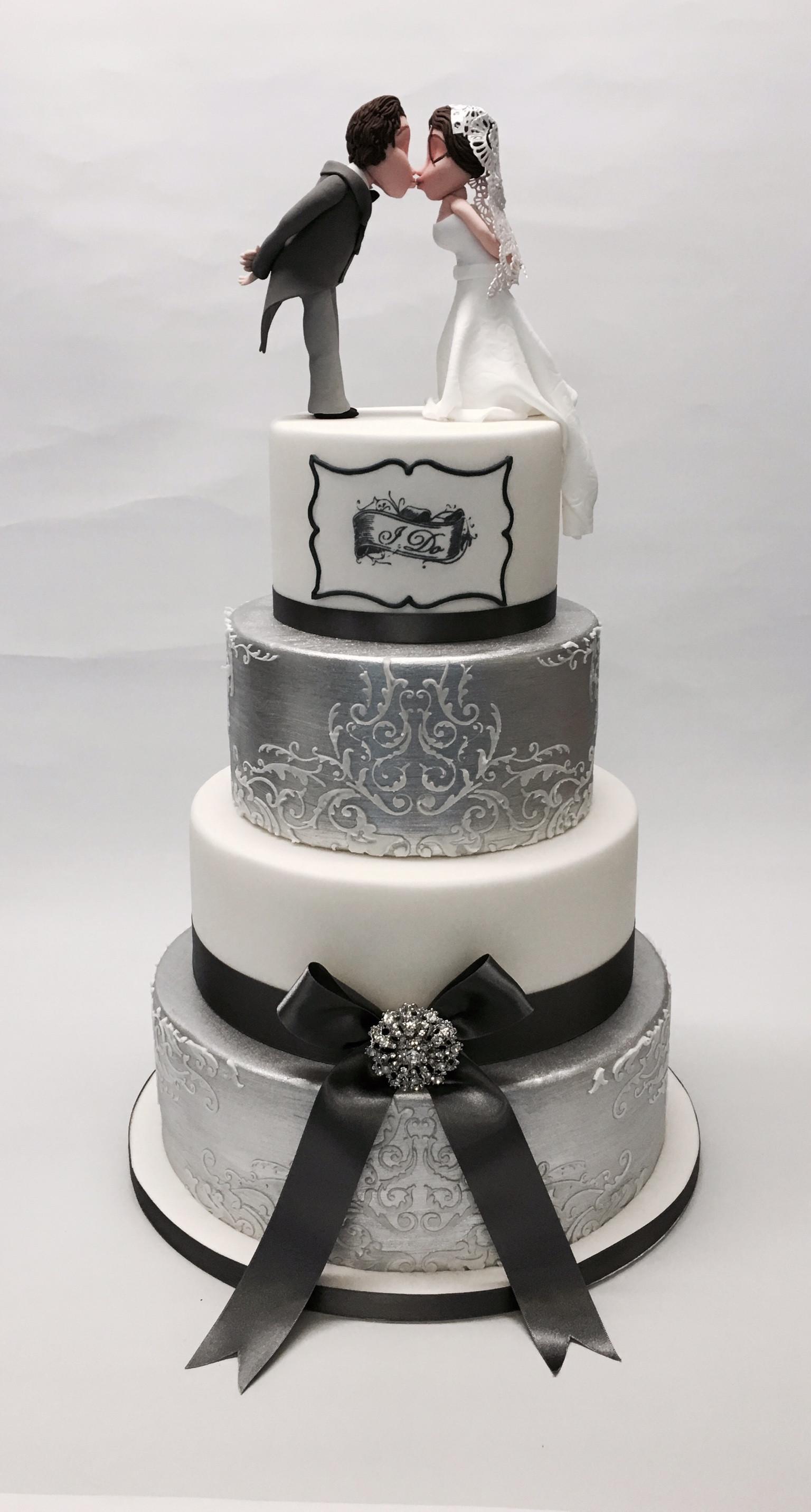 I Do Wedding Cakes  4 Tier Silver and White I Do Wedding Cake Wedding
