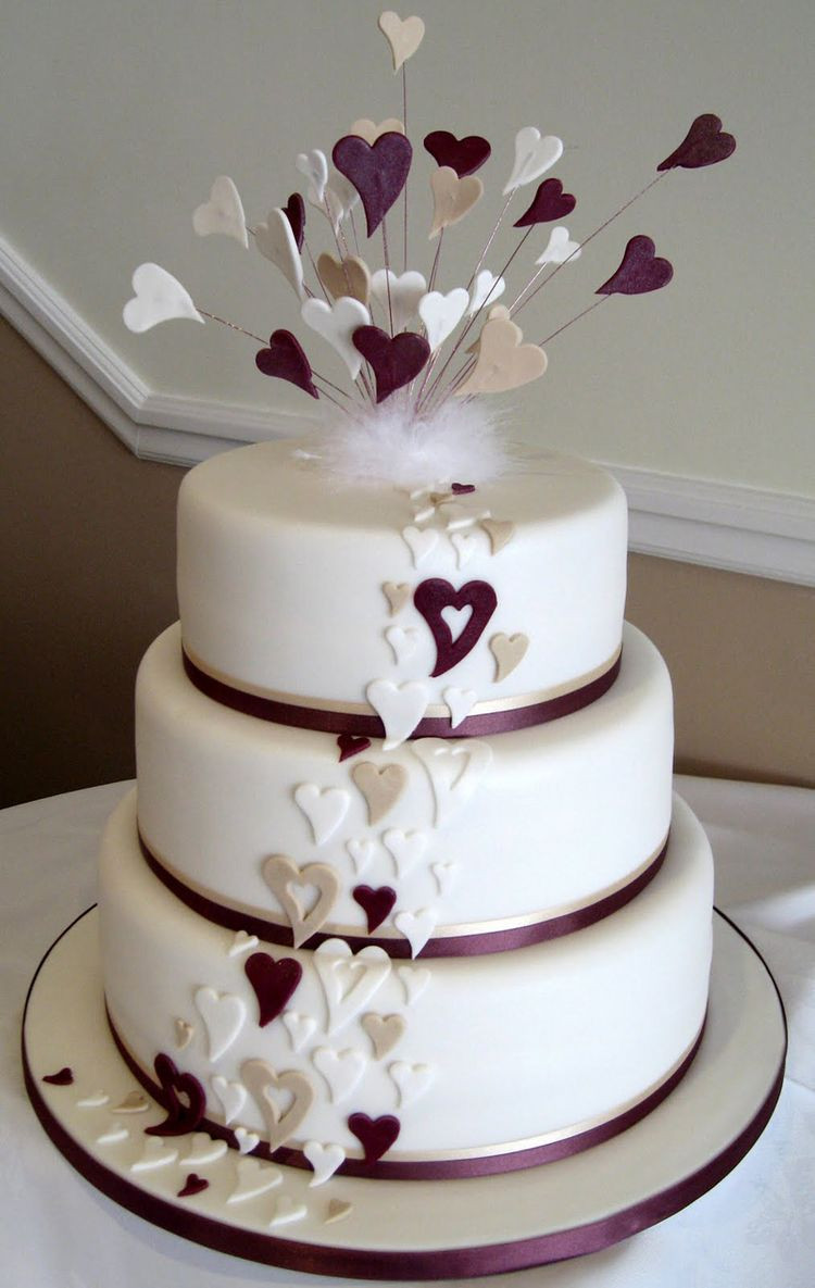 Images Wedding Cakes  Wedding cake with purple hearts