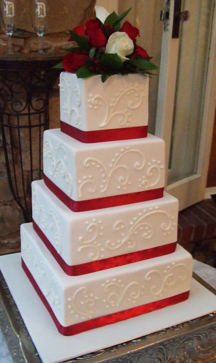 Images Wedding Cakes  Wedding cake with red ribbon