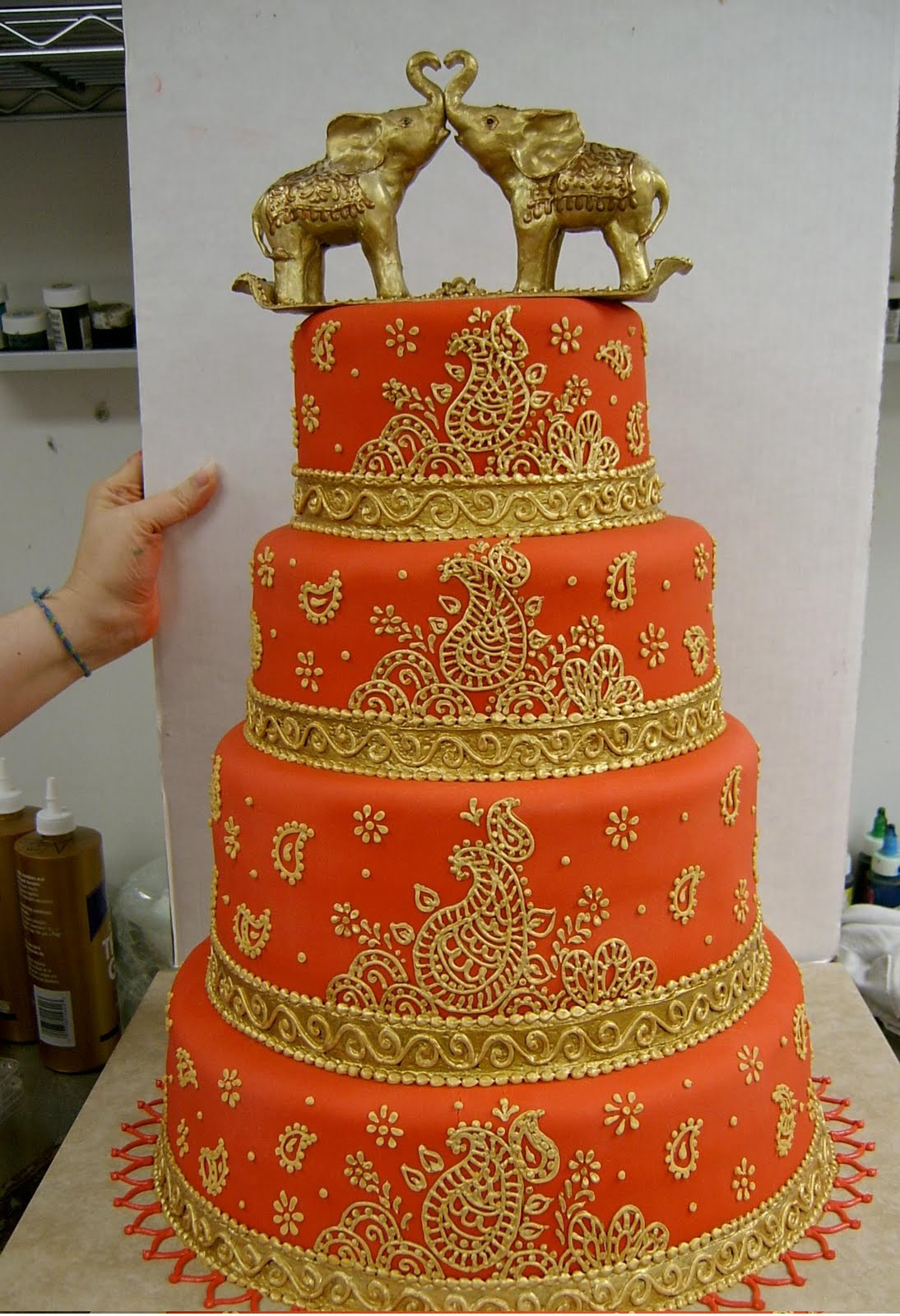 Indian Wedding Cakes  Indian Wedding Cake Decorated With Mahndi And Elephants