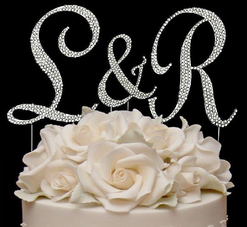 Initial Cake Toppers For Wedding Cakes  3 Full Swarovski Crystal Covered Wedding Monogram Cake