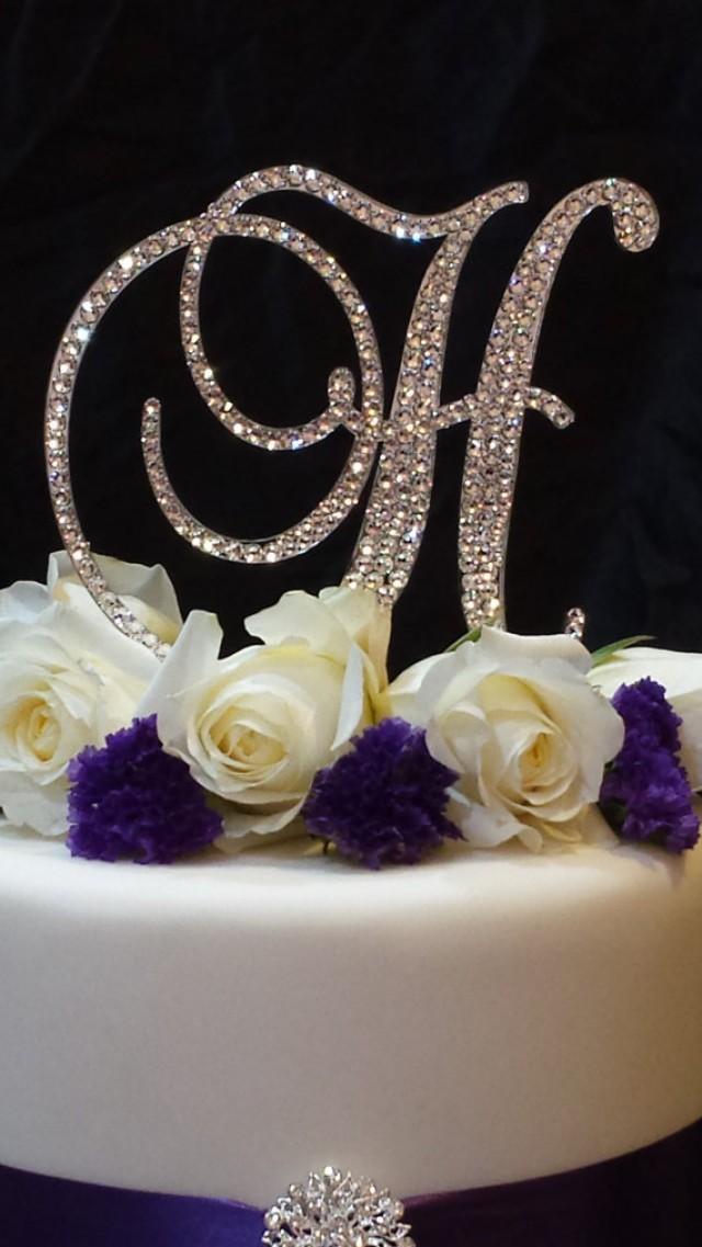 Initial Cake Toppers For Wedding Cakes  Letter H Swarovski Crystal Monogram Cake Topper Wedding