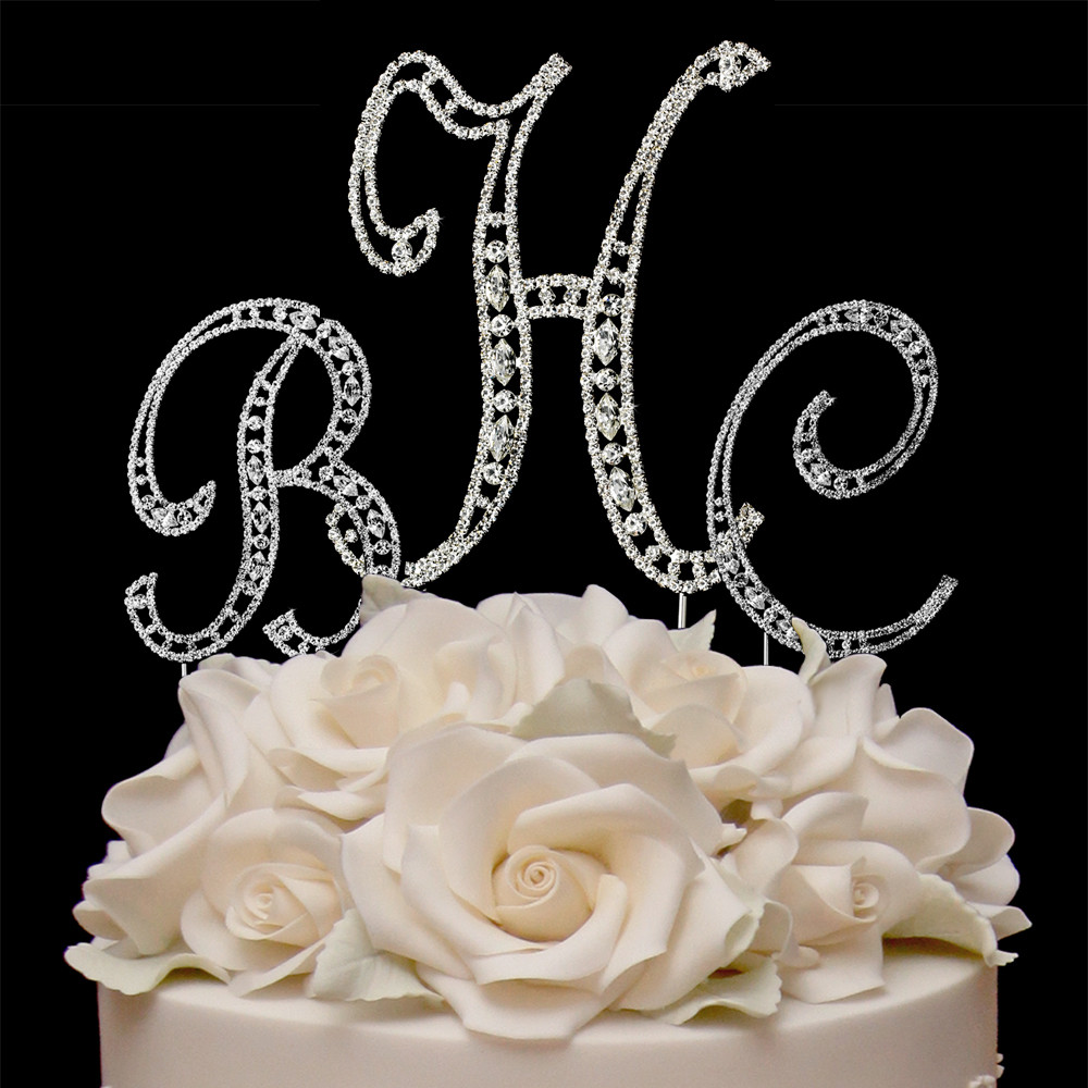 Initial Cake Toppers For Wedding Cakes  Bling monogram wedding cake toppers idea in 2017