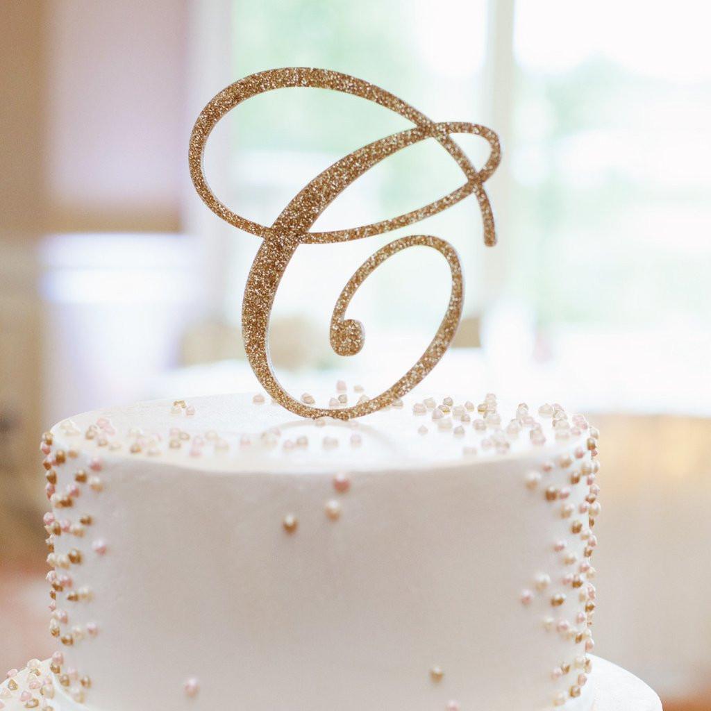 Initial Cake Toppers For Wedding Cakes  Monogram Cake Topper – Z Create Design