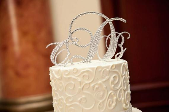 Initial Cake Toppers For Wedding Cakes  Swarovski Wedding Cake Toppers Crystal Monogram Cake Toppers