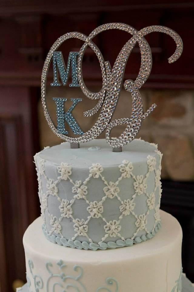 Initial Cake Toppers For Wedding Cakes  Monogram Wedding Cake Topper Crystal Initial Any Letter A