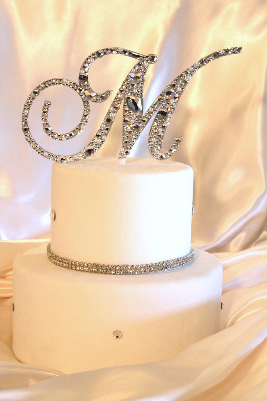 Initial Cake Toppers For Wedding Cakes  36 Swarovski Mosaic Style Monogram Cake Topper