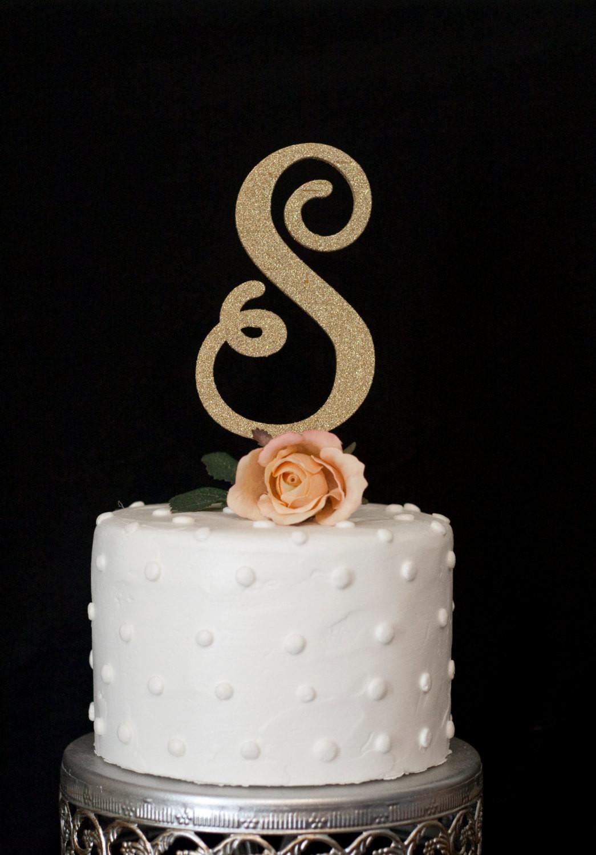 Initial Cake Toppers For Wedding Cakes  Custom Monogram Wedding Cake Topper
