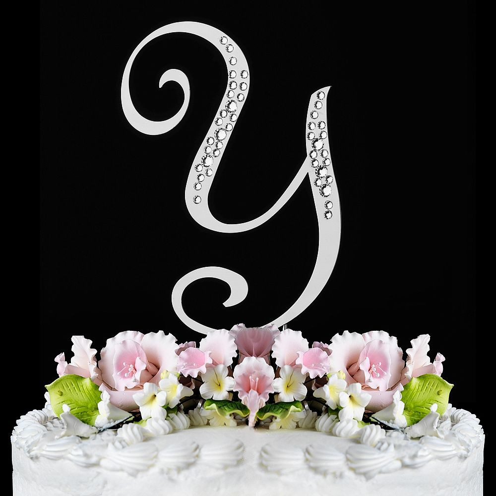 Initial Cake Toppers For Wedding Cakes  Sparkle Monogram Inital Cake Toppers with Swarovski