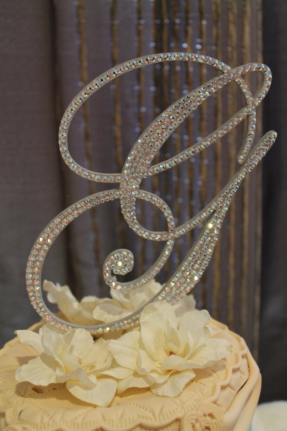 """Initial Cake Toppers For Wedding Cakes  Items similar to 6"""" Crystal Monogram Wedding Cake Topper"""