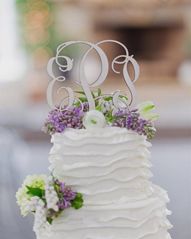 """Initials Cake Toppers For Wedding Cakes  Monogram Wedding Cake Topper PAINTED 5"""" Wood Script With"""