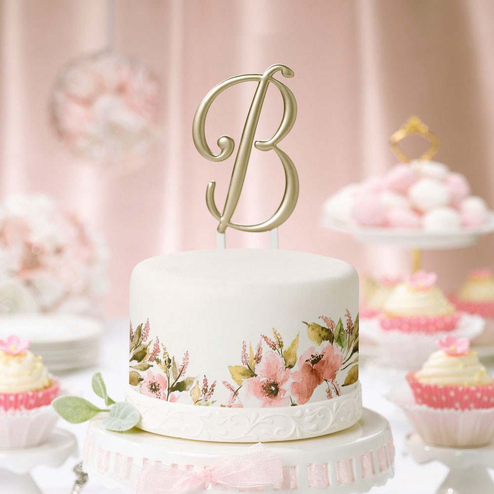 Initials Cake Toppers For Wedding Cakes  5 Inch Gold Single Initial Monogram Wedding Cake Topper