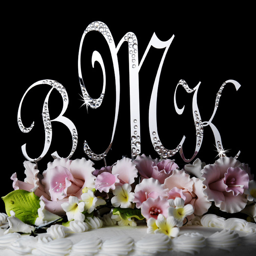 Initials Cake Toppers For Wedding Cakes  Crystal SPARKLE Monogram Initials Wedding Cake Topper
