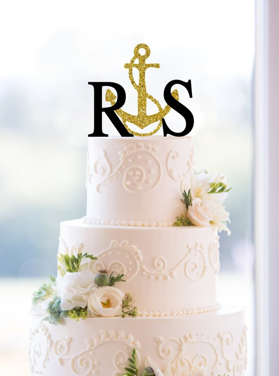 Initials Cake Toppers For Wedding Cakes  Monogram Wedding Cake Topper Custom 2 Initials Topper with