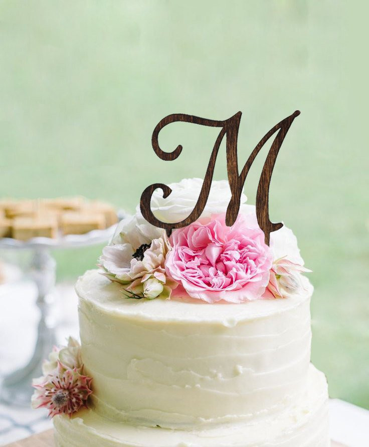 Initials Cake Toppers For Wedding Cakes  Monogram Wedding Cake topper Wooden Wedding Cake Topper
