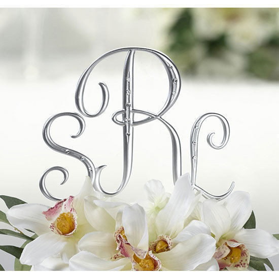 Initials Cake Toppers For Wedding Cakes  Silver Monogram Wedding Cake Topper Initials Set of 3 with