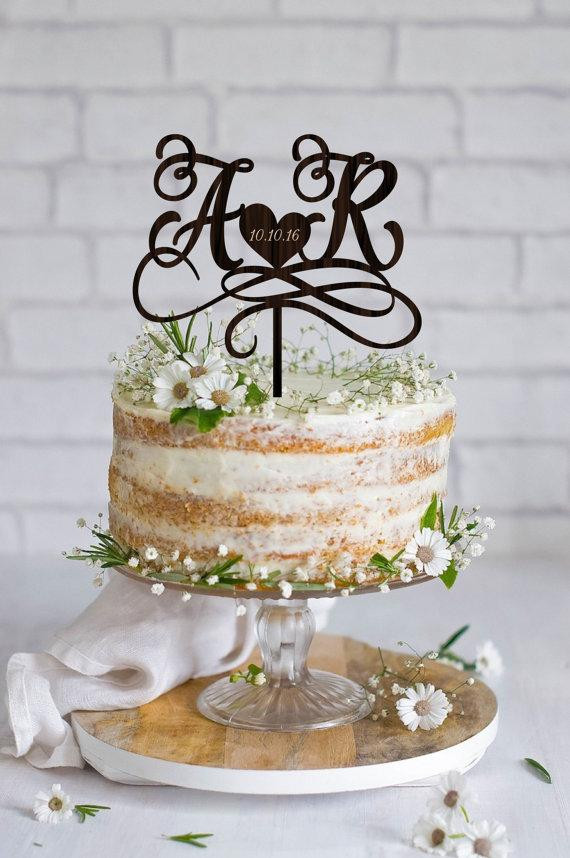 Initials Cake Toppers For Wedding Cakes  Wedding Cake Topper Initials Cake Topper Names