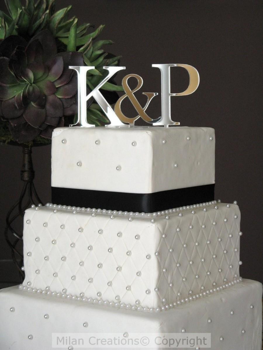 Initials Cake Toppers For Wedding Cakes  Sale Silver Two Initials Cake Topper For Wedding Cake