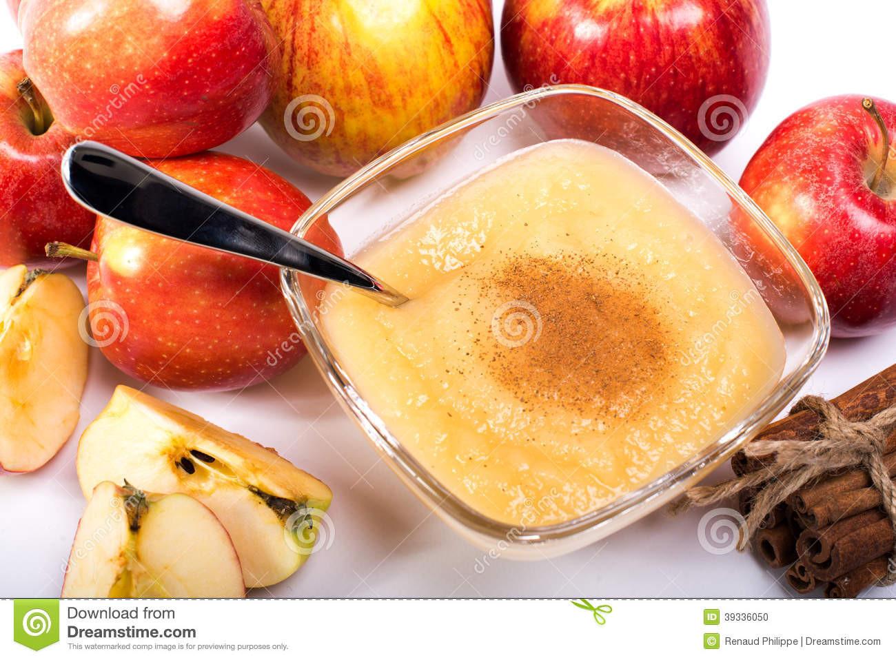 Is Applesauce Healthy  Healthy Organic Applesauce With Cinnamon Stock