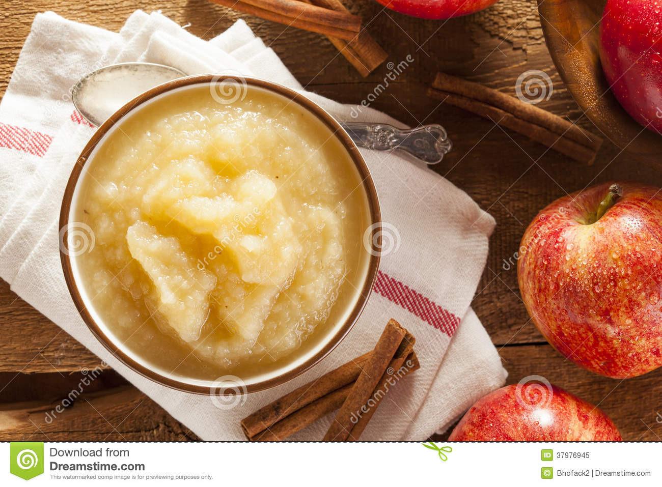 Is Applesauce Healthy  Healthy Organic Applesauce With Cinnamon Stock Image