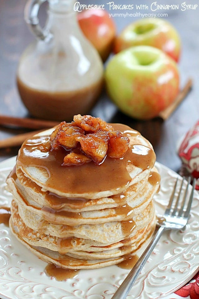 Is Applesauce Healthy  Applesauce Pancakes with Cinnamon Syrup Yummy Healthy Easy