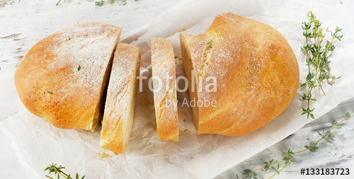 "Is Ciabatta Bread Healthy  ""Healthy ciabatta bread with fresh herbs "" 스톡 사진 로열티프리"
