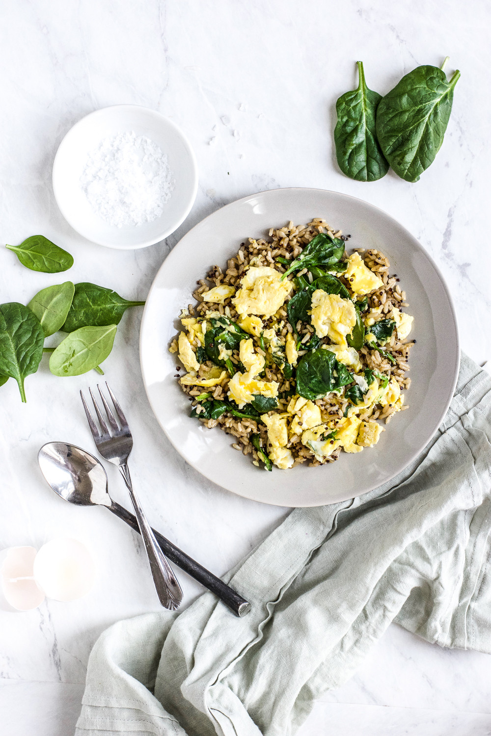 Is Eating Rice For Breakfast Healthy  Healthy Brown Rice Breakfast Bowl with Eggs and Spinach