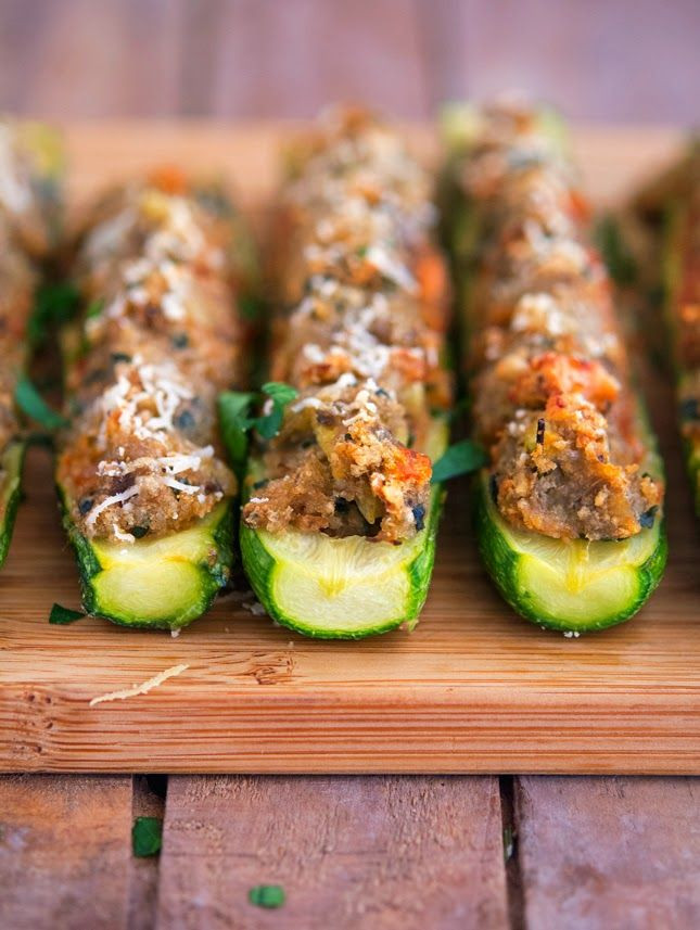 Is Eggplant Healthy  Eggplant Parmesan Stuffed Zucchini Boats