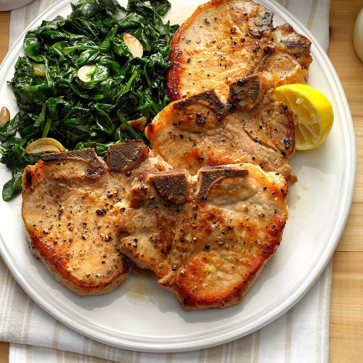 Is Pork Chops Healthy  Sauteed Pork Chops with Garlic Spinach Recipe