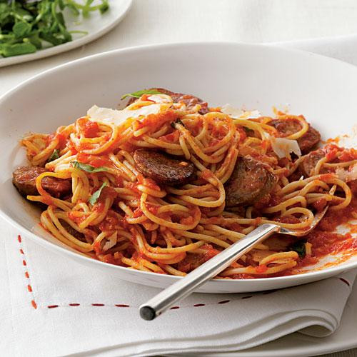 Is Spaghetti Healthy  Spaghetti with Sausage and Simple Tomato Sauce Dinner