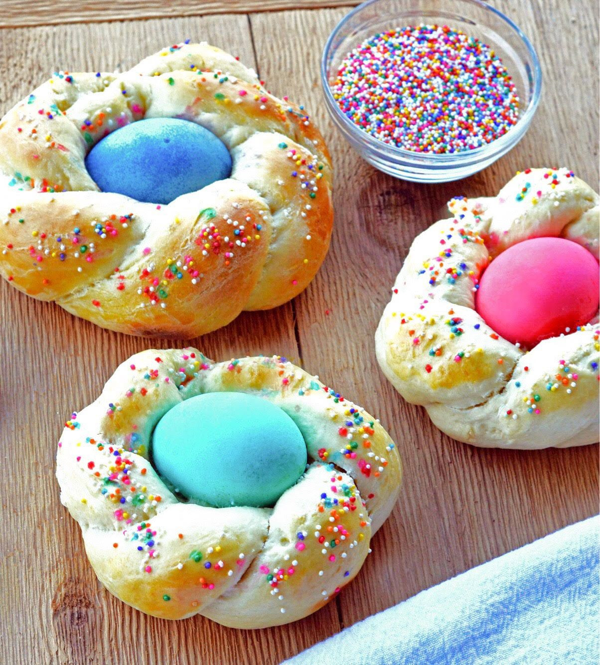 Italian Easter Bread With Eggs  Italian Easter Egg Wreath Bread Recipe 4 The Love Family