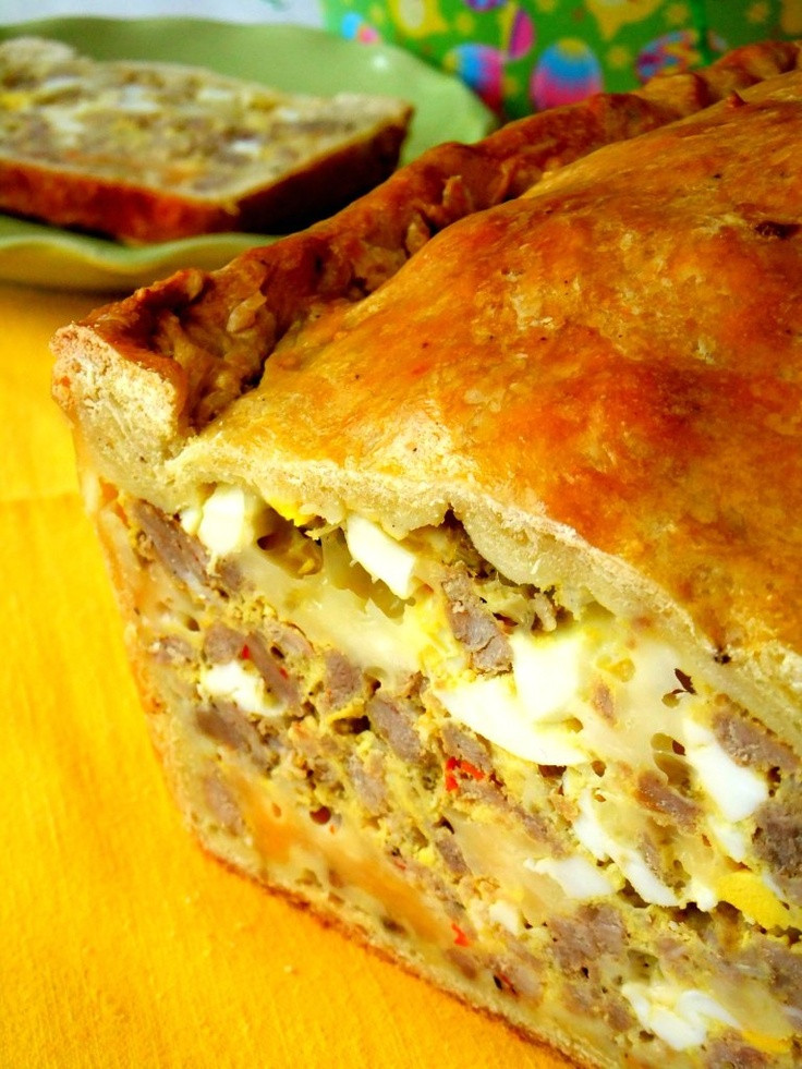 Italian Easter Bread With Hard Boiled Eggs  Italian Easter Bread with sausage hard boiled egg and